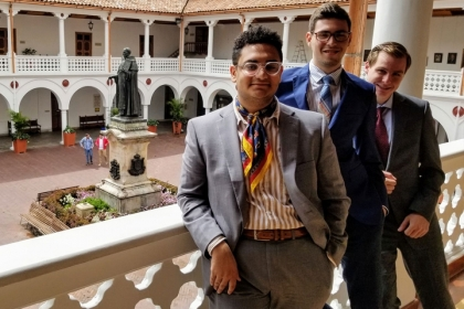 GW debaters (from left) Shawky Darwish, Itiel Wainer and Sean O'Neil at the Universidad del Rosario in Bogotá, Colombia